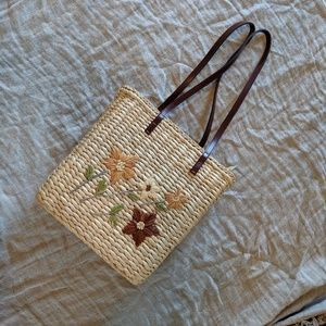 Handbags - Boho Woven Wicker Embroidered Purse
